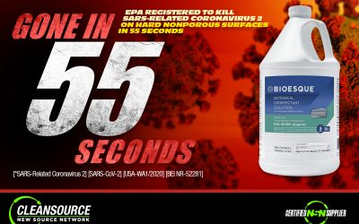 Bioesque Botanical Disinfectant now has a new EPA approval for 55 second kill claim for (COVID-19) SARS-COV-2 VIRUS